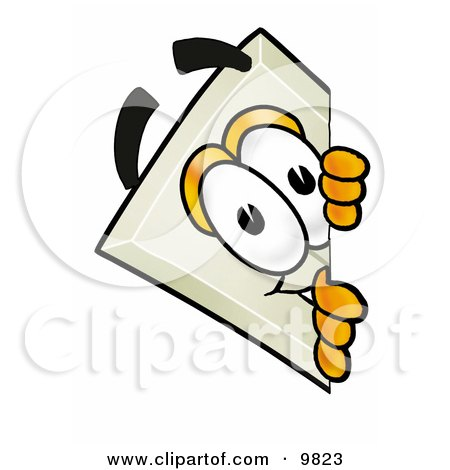 Clipart Picture of a Light Switch Mascot Cartoon Character Peeking Around a Corner by Toons4Biz