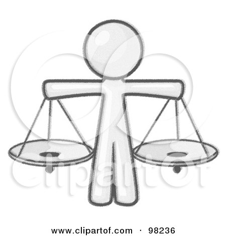 Royalty-Free (RF) Clipart Illustration of a Sketched Design Mascot Man Scales Of Justice With Two Scales by Leo Blanchette