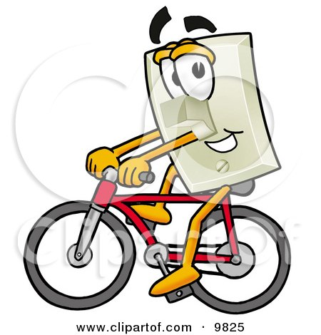 Light Switch Mascot Cartoon Character Riding a Bicycle Posters, Art Prints