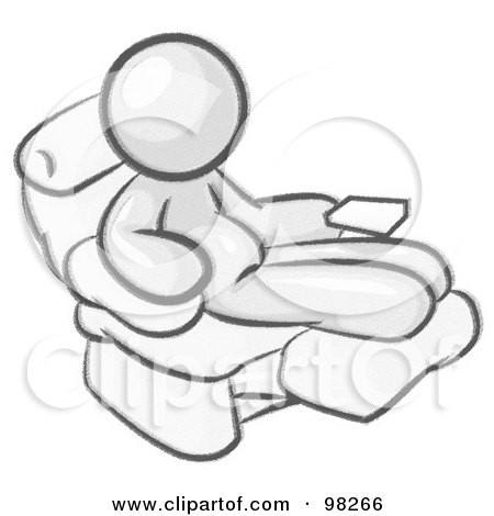 Royalty Free RF Clipart Illustration Of A Sketched Design Mascot Man With Beer Belly Sitting In Recliner Chair His Feet Up By Leo Blanchette