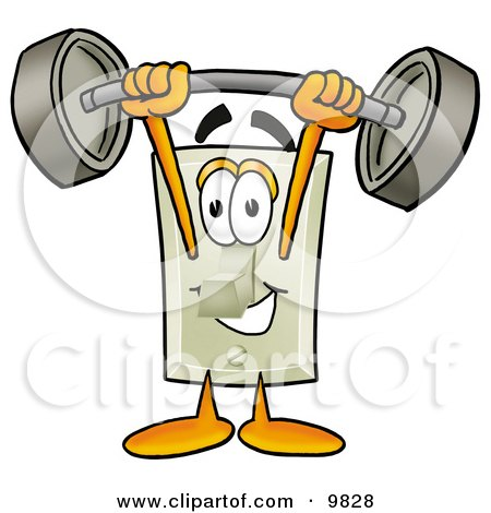 Light Switch Mascot Cartoon Character Holding a Heavy Barbell Above His Head Posters, Art Prints