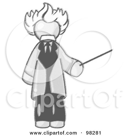 Royalty-Free (RF) Clipart Illustration of a Sketched Design Mascot Man Depicted As Albert Einstein, Holding A Pointer Stick by Leo Blanchette