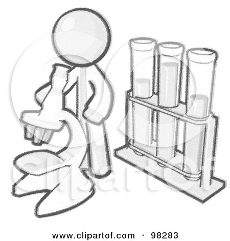 Royalty-Free (RF) Clipart Illustration of a Sketched Design Mascot Man Scientist Using A Microscope By Vials by Leo Blanchette