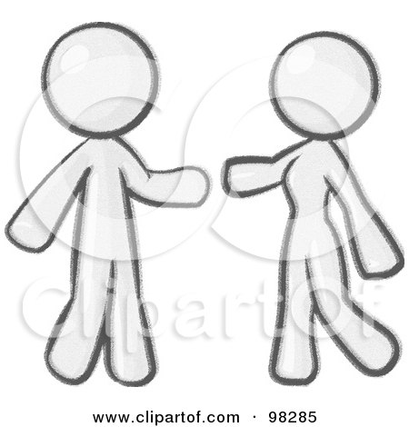 Royalty-Free (RF) Clipart Illustration of a Sketched Design Mascot Man And Woman Preparing To Embrace by Leo Blanchette