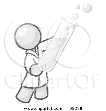 Royalty-Free (RF) Clipart Illustration of a Ketched Design Mascot Man Scientist Holding A Test Tube Full Of Bubbly Liquid In A Laboratory by Leo Blanchette