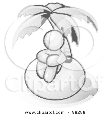 Royalty-Free (RF) Clipart Illustration of a Sketched Design Mascot Man Sitting All Alone With A Palm Tree On A Deserted Island by Leo Blanchette