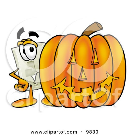 Light Switch Mascot Cartoon Character With a Carved Halloween Pumpkin Posters, Art Prints