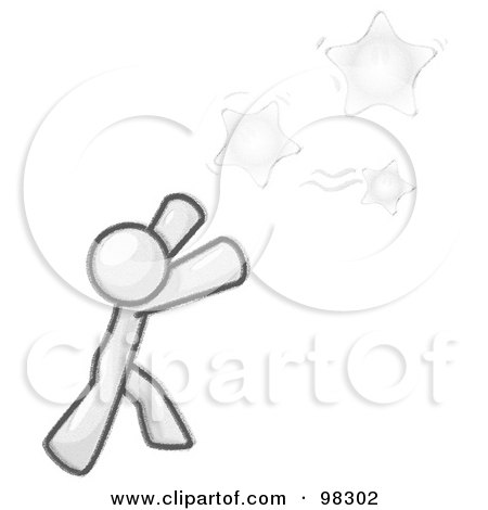 Royalty-Free (RF) Clipart Illustration of a Sketched Design Mascot Man Character Reaching For Yellow Stars In The Sky by Leo Blanchette