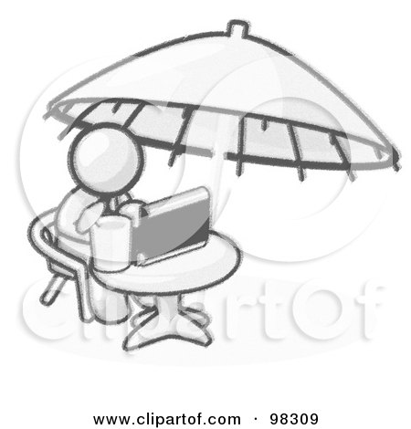 Royalty-Free (RF) Clipart Illustration of a Sketched Design Mascot Businessman Sitting At A Table Under An Umbrella, Drinking A Beverage And Using A Laptop Compute by Leo Blanchette