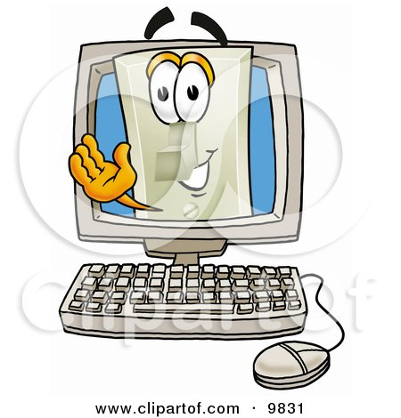 Clipart Picture of a Light Switch Mascot Cartoon Character Waving From Inside a Computer Screen by Toons4Biz