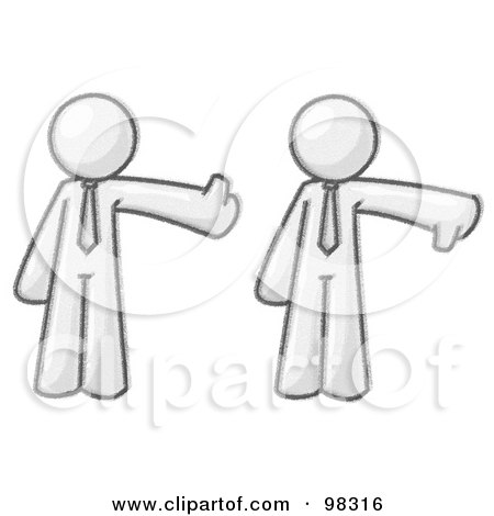 Royalty-Free (RF) Clipart Illustration of a Sketched Design Mascot Businessman Giving The Thumbs Up, Then The Thumbs Down While Being Asked For His Opinion by Leo Blanchette