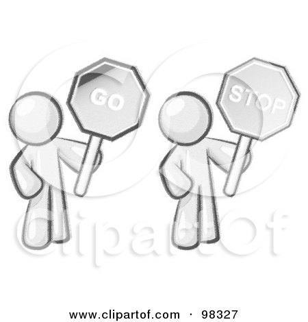 Royalty-Free (RF) Clipart Illustration of a Sketched Design Mascot Holding Stop And Go Signs by Leo Blanchette