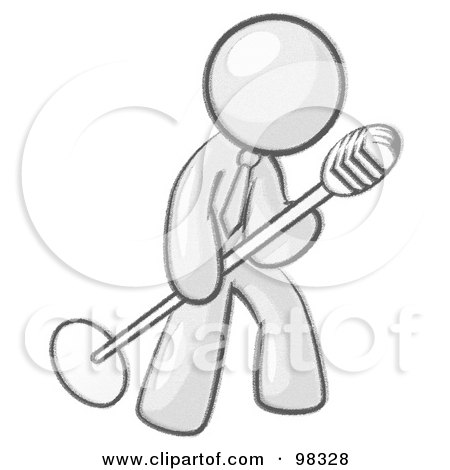 Royalty-Free (RF) Clipart Illustration of a Sketched Design Mascot Man In A Tie, Singing Songs On Stage During A Concert Or At A Karaoke Bar While Tipping The Microphone by Leo Blanchette