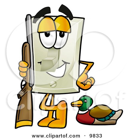 Light Switch Mascot Cartoon Character Duck Hunting, Standing With a Rifle and Duck Posters, Art Prints