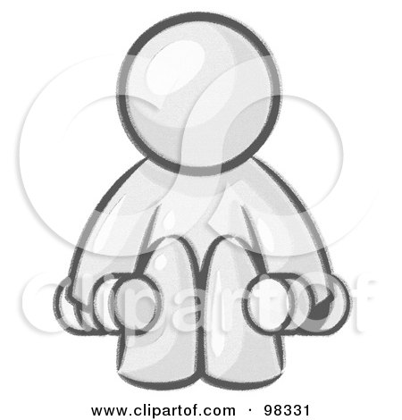 Royalty-Free (RF) Clipart Illustration of a Sketched Design Mascot Man Lifting Dumbbells While Strength Training by Leo Blanchette