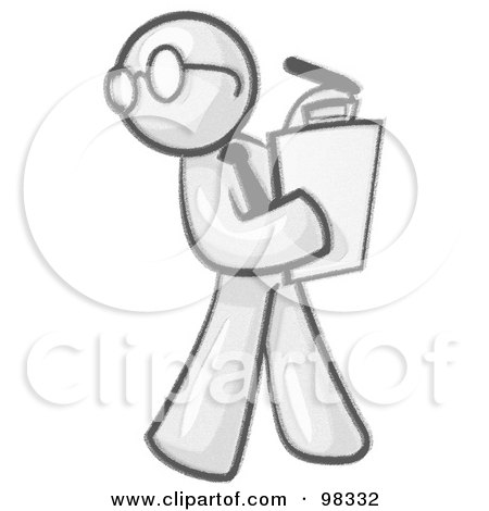 Royalty-Free (RF) Clipart Illustration of a Sketched Design Mascot Man Character Wearing Glasses And Holding A Clipboard While Reviewing Employees by Leo Blanchette