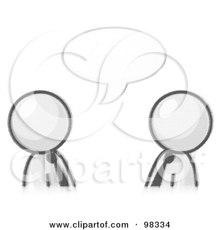 Royalty-Free (RF) Clipart Illustration of Sketched Design Mascot Businessmen Having A Conversation With A Text Bubble by Leo Blanchette
