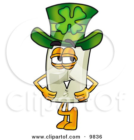 Light Switch Mascot Cartoon Character Wearing a Saint Patricks Day Hat With a Clover on it Posters, Art Prints