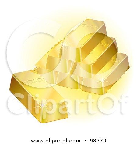 Royalty-Free (RF) Clipart Illustration of a Pyramid Of 3d Gold Ingot Bars Sparkling by Oligo