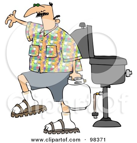 Royalty-Free (RF) Clipart Illustration of a Caucasian Man Carrying A Propane Tank By A BBQ by djart