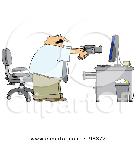 Royalty-Free (RF) Clipart Illustration of an Angry Businessman Holding A Pistil At A Computer by djart