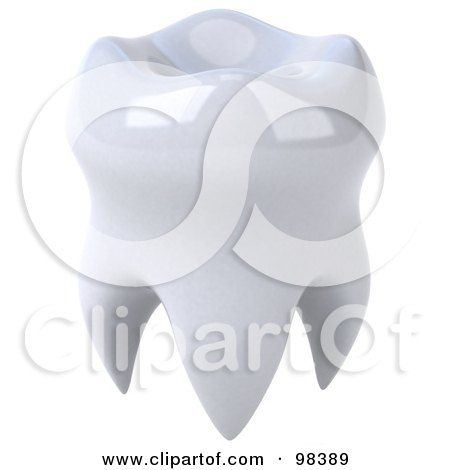 Royalty-Free (RF) Clipart Illustration of a 3d Shiny White Human Tooth by Julos