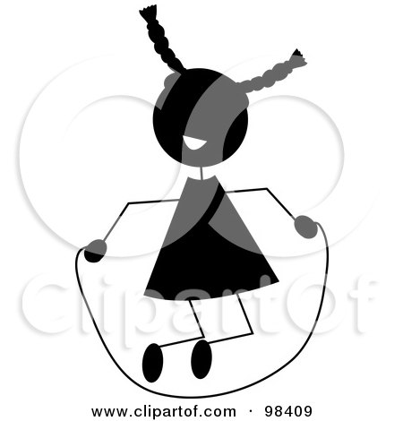 Royalty-Free (RF) Clipart Illustration of a Black Silhouetted Stick Girl Playing With A Jump Rope by Pams Clipart