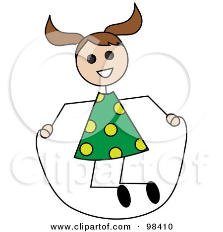 Royalty-Free (RF) Clipart Illustration of a Brunette Caucasian Stick Girl Playing With A Jump Rope by Pams Clipart