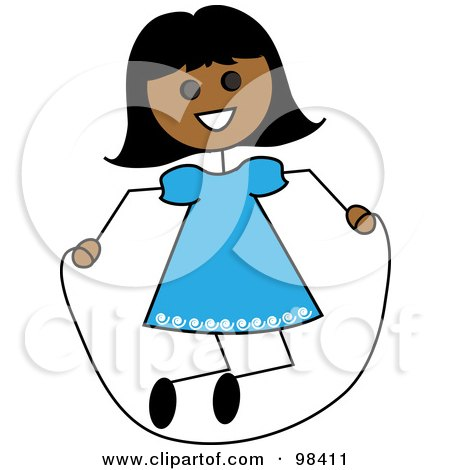 Royalty-Free (RF) Clipart Illustration of a Hispanic Stick Girl Playing With A Jump Rope by Pams Clipart