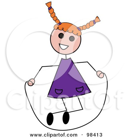 Royalty-Free (RF) Clipart Illustration of a Red Haired Caucasian Stick Girl Playing With A Jump Rope by Pams Clipart