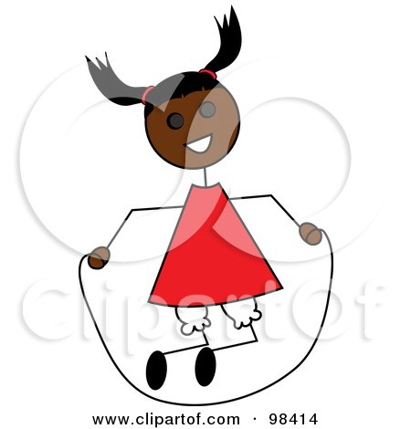 Royalty-Free (RF) Clipart Illustration of a Black Stick Girl Playing With A Jump Rope by Pams Clipart