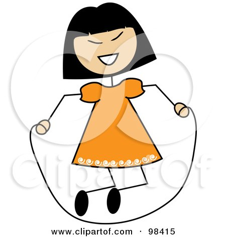 Royalty-Free (RF) Clipart Illustration of an Asian Stick Girl Playing With A Jump Rope by Pams Clipart