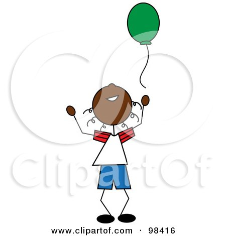 Royalty-Free (RF) Clipart Illustration of a Happy Black Stick Boy Releasing A Green Balloon by Pams Clipart