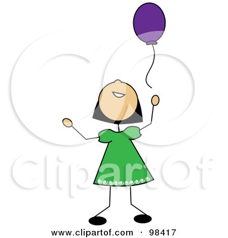 Royalty-Free (RF) Clipart Illustration of a Happy Asian Stick Girl Releasing A Purple Balloon by Pams Clipart