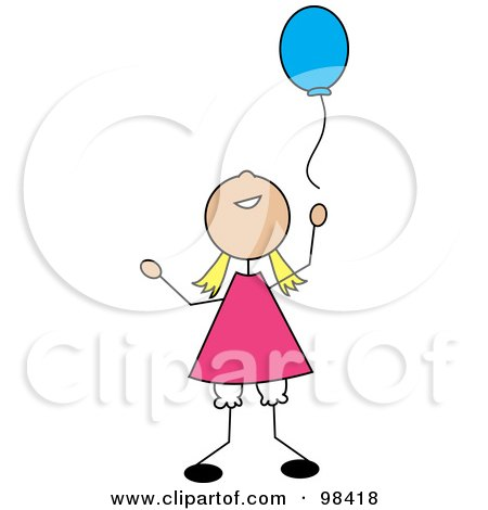 Royalty-Free (RF) Clipart Illustration of a Happy Blond Stick Girl Releasing A Blue Balloon by Pams Clipart