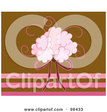 RoyaltyFree RF Clipart Illustration of a Pink Bridal Bouquet And Ribbon