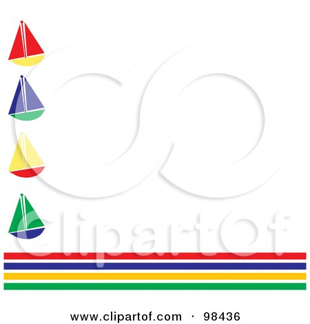Royalty-Free (RF) Clipart Illustration of a White Background Bordered By Colorful Stripes And Sailboats by Pams Clipart