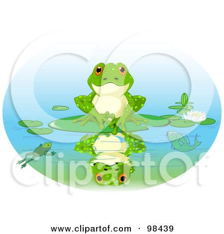 Cute Frog Sitting On A Lily Pad With His Reflection On The Water Posters, Art Prints