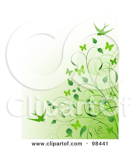 Royalty-Free (RF) Clipart Illustration of a Background Of A Green Vine And Swallows Over Gradient Green To White by Pushkin