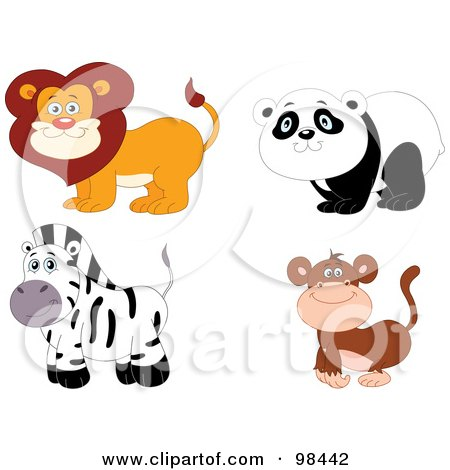 Royalty-Free (RF) Clipart Illustration of a Digital Collage Of A Happy Smiling Zoo Lion, Panda, Zebra And Monkey by yayayoyo