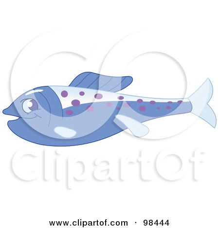 Royalty-Free (RF) Clipart Illustration of a Blue Marine Fish With Purple Spots In Profile by yayayoyo
