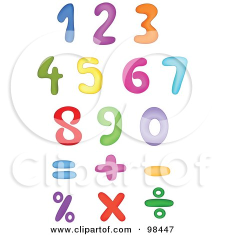 Royalty-Free (RF) Clipart Illustration of a Digital Collage Of Rainbow Colored Digits And Math Symbols by yayayoyo
