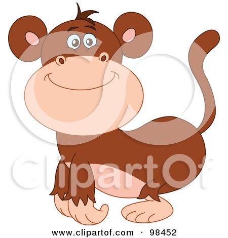 Royalty-Free (RF) Clipart Illustration of a Happy Smiling Zoo Monkey by yayayoyo