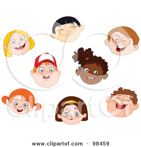 Royalty-Free (RF) Clipart Illustration of a Digital Collage Of Happy Diverse Faces Of Children by yayayoyo