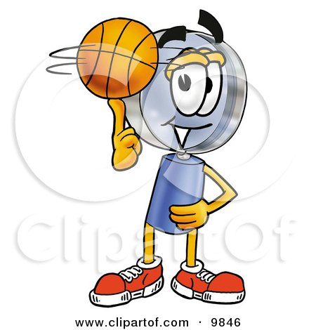 Clipart Picture of a Magnifying Glass Mascot Cartoon Character Spinning a Basketball on His Finger by Toons4Biz