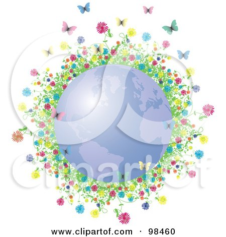 Royalty-Free (RF) Clipart Illustration of Colorful Flowers And Spring Butterflies Around A Blue Spring Time Globe by Eugene