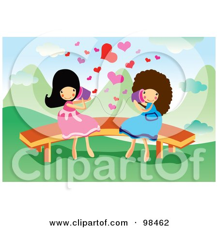 Royalty-Free (RF) Clipart Illustration of Two Happy Girls Talking Through Cans by mayawizard101