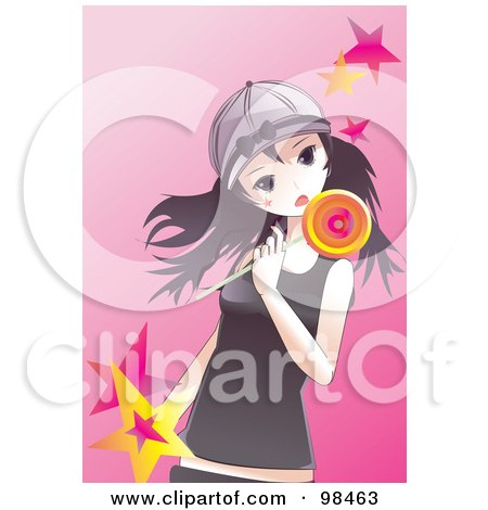 Royalty-Free (RF) Clipart Illustration of an Emo Girl Eating A Loli Pop by mayawizard101