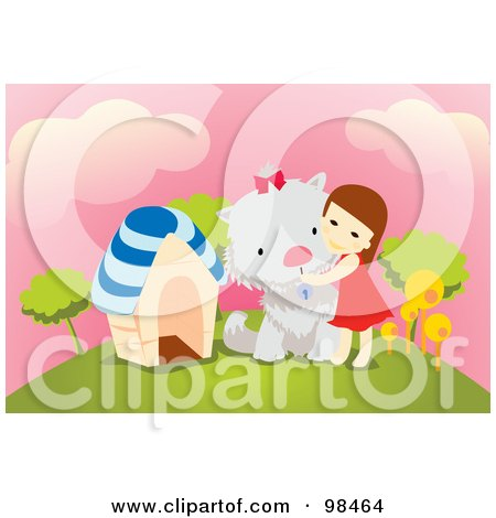 Royalty-Free (RF) Clipart Illustration of a Little Girl Hugging Her Giant Dog On A Hill by mayawizard101