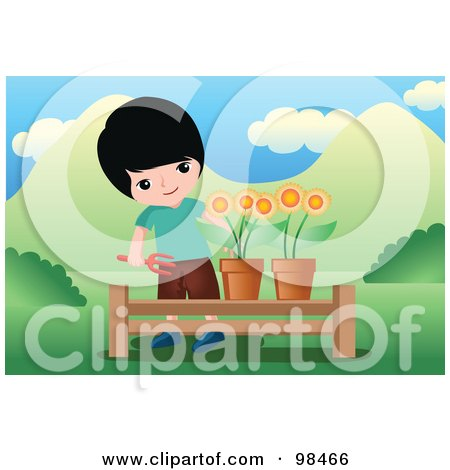 Royalty-Free (RF) Clipart Illustration of a Little Boy Tending To Potted Flowers by mayawizard101